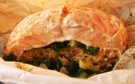 Thai Salmon-Ramen Bake with Cookin' Greens Designer's Miz