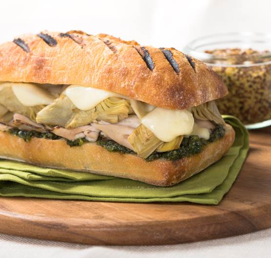 Cookin' Greens Turkey and Artichoke Heart Panini with Pesto