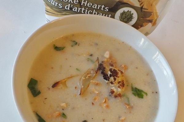 Cookin' Greens Cauliflower and Artichoke Heart soup