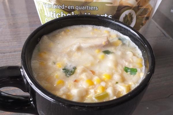Cookin' Greens TexMex Cream of Corn and Artichoke Hearts Soup